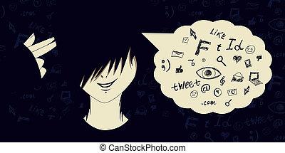 Social media suicide - Emo kid with finger gun and social...