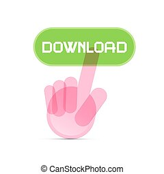 Social Media Symbol - Hand Icon Pushing Transparent Download Button