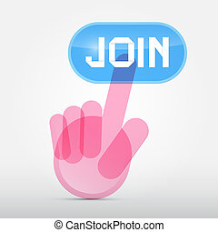 Social Media Symbol - Hand Icon Pushing Transparent Join Button