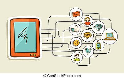 Social media tablet computer concept