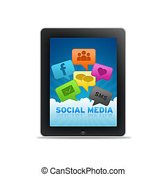 Social Media Tablet PC with Speech Bubbles on white ...