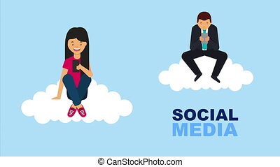 social media technology with couple using smartphones ,4k...
