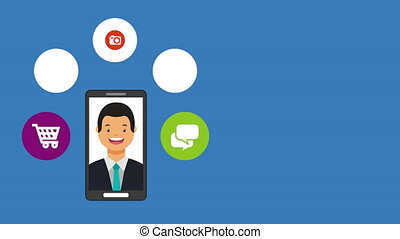 social media technology with man and smartphone