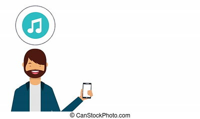 social media technology with man using smartphone