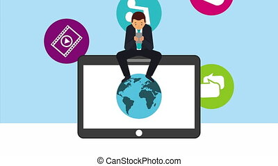social media technology with man using smartphone in tablet