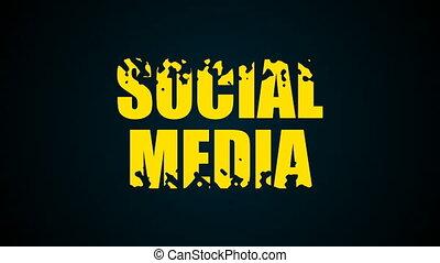 Social media text. Liquid animation background