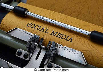 Social media text on typewriter
