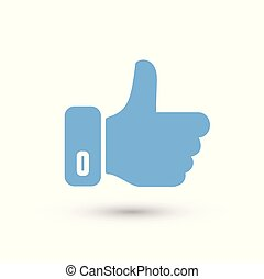 Social media thumb up color icon white background