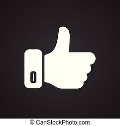 Social media thumb up icon on white background