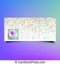 Social media timeline cover design with colourful confetti ...