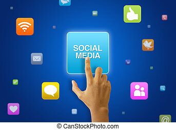 A person touching a social media icon on blue background.