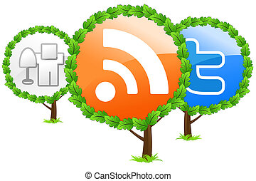 Social media trees icon isolated on white