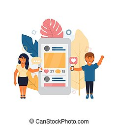 Social media Vector illustration in flat style