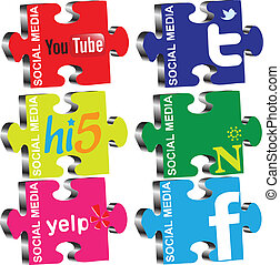 Social Media - Vector illustration of puzzles on the topic...