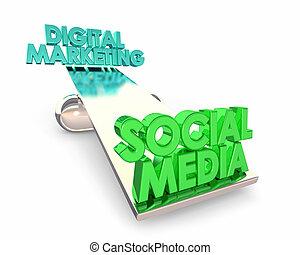 Social Media Vs Digital Marketing Balance See Saw Words 3d...