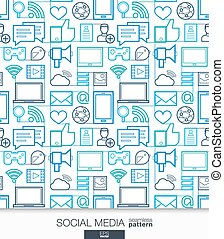 Social Media wallpaper. Network communication seamless pattern.