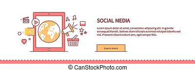 Social Media Web Page Design Flat