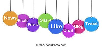 Social Media Web Signs On Tags