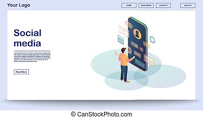 social, media, websida, mall, vektor, illustration, isometric