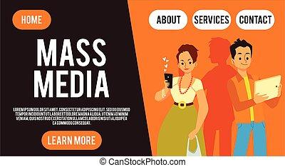 Social media website banner, cartoon people using technology