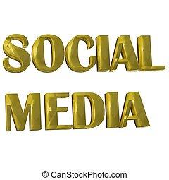 Social Media Word 3D gold image