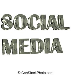 Social Media Word 3D silver image