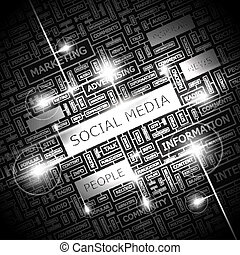 SOCIAL MEDIA. Word cloud illustration. Tag cloud concept...