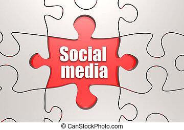 Social media word on jigsaw puzzle