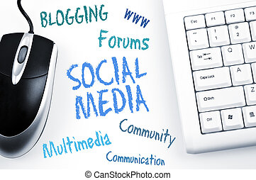 Social Media word scheme and computer keyboard