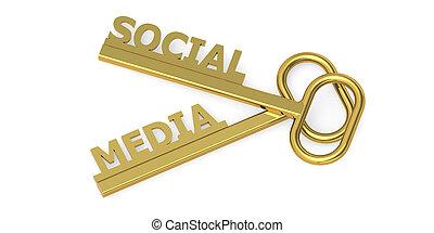 Social media word with keys isolated