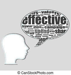social media words on man head - business concept