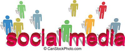 Social media words people symbol text