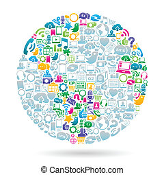 Social Media World Color - Vector Illustration of the globe ...