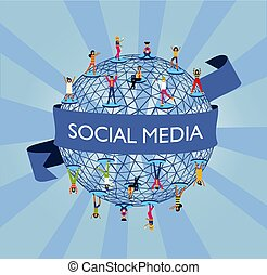 Social media world concept with people online
