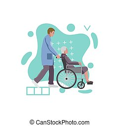 Social, medical worker with old woman in a wheelchair