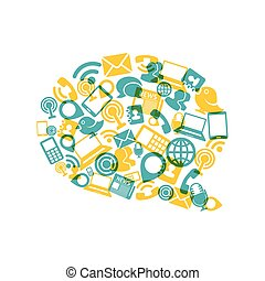 social, medios, burbuja, forma, con, comunicación, iconos