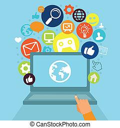 social, medios, computador portatil, vector, iconos