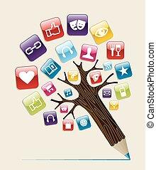 social, medios, concepto, árbol, lápiz