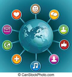 social, medios, concepto, con, iconos