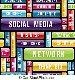 social, medios, concepto, patrón