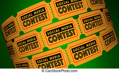 social, medios, concurso, red, conexiones, boletos, 3d, ilustración
