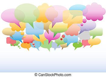 social, medios, discurso, burbujas, gradiente, colores, plano de fondo