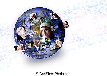 social, medios, gente, global, establecimiento de una red, conexiones