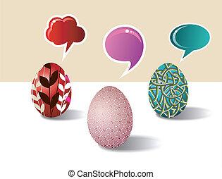 social, medios, huevo de pascua, conjunto