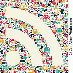social, medios, icono, textura, rss