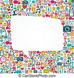 social, medios, iconos, burbuja de discurso blanca, forma, eps10, file.