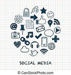 social, medios, iconos, en, círculo