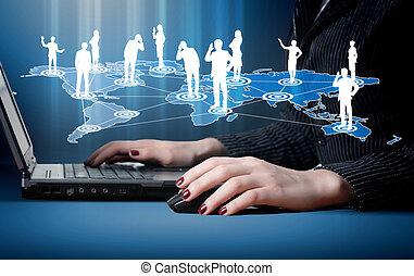 social, medios, imágenes, ordenador teclado
