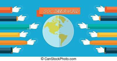 social, medios, mundo, concepto, plano, ilustración