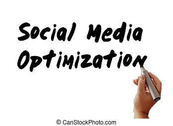 social, medios, optimization, mano, marcador